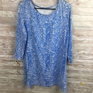 Hilo Beach Blue Pattern Top Large